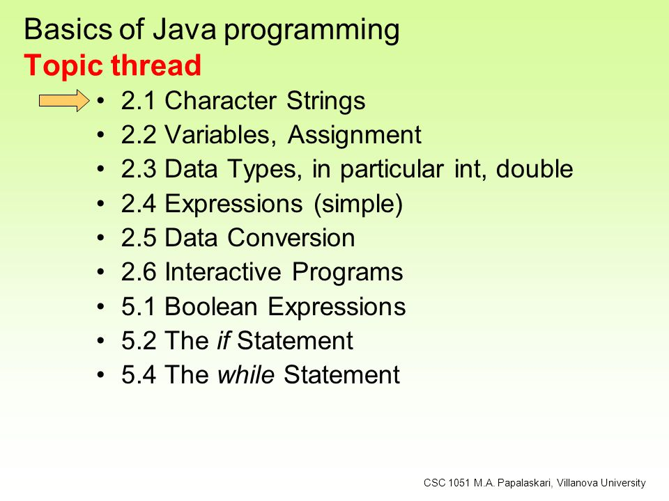 Basics of Java programming Topic thread 2.1 Character Strings 2.2 Variables, Assignment 2.3 Data Types, in particular int, double 2.4 Expressions (sim