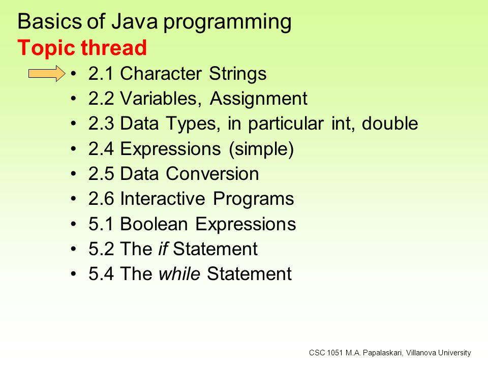 Escape Sequences Some Java escape sequences: Escape Sequence \b \t \n \r \ \ \\ Meaning backspace tab newline carriage return double quote single quote backslash CSC 1051 M.A.