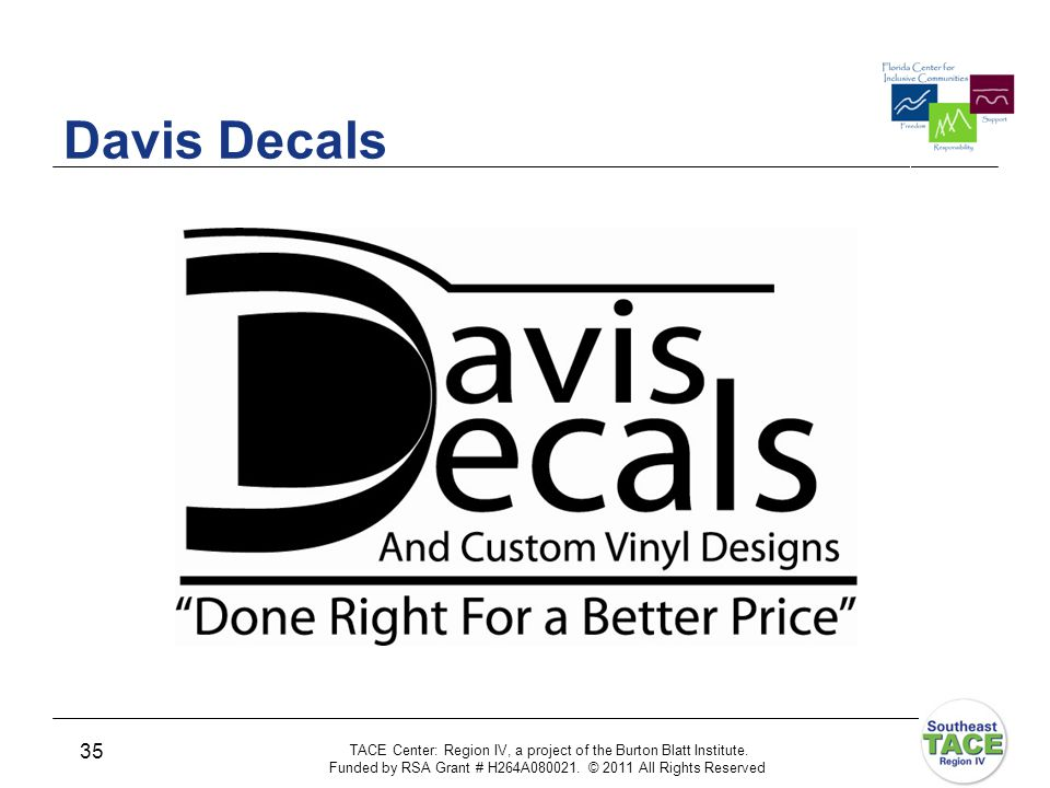Logo Davis Decals and Custom Vinyl Designs Done Right for a Better Price TACE Center: Region IV, a project of the Burton Blatt Institute.