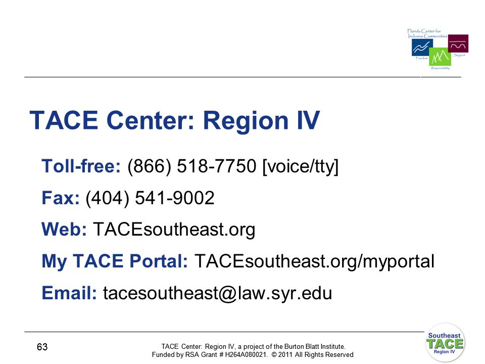 TACE Center: Region IV, a project of the Burton Blatt Institute.