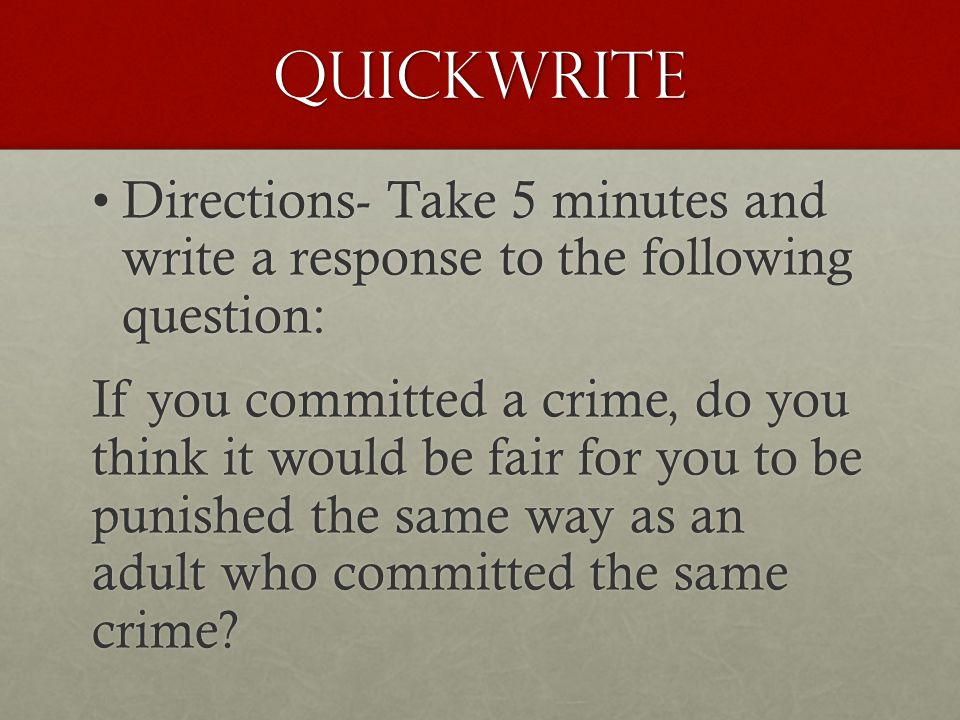 Quickwrite Directions- Take 5 minutes and write a response to the following question:Directions- Take 5 minutes and write a response to the following
