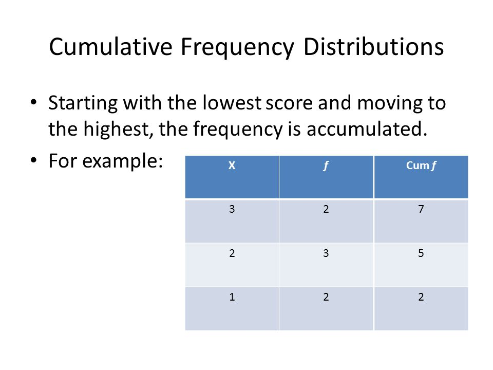 Cumulative Frequency Distributions Starting with the lowest score and moving to the highest, the frequency is accumulated. For example: X 3 2 1 f 2 3