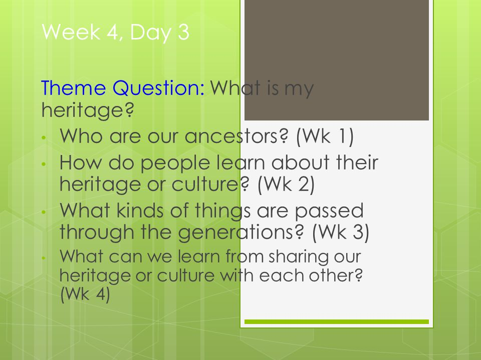 Week 4, Day 3 Theme Question: What is my heritage.