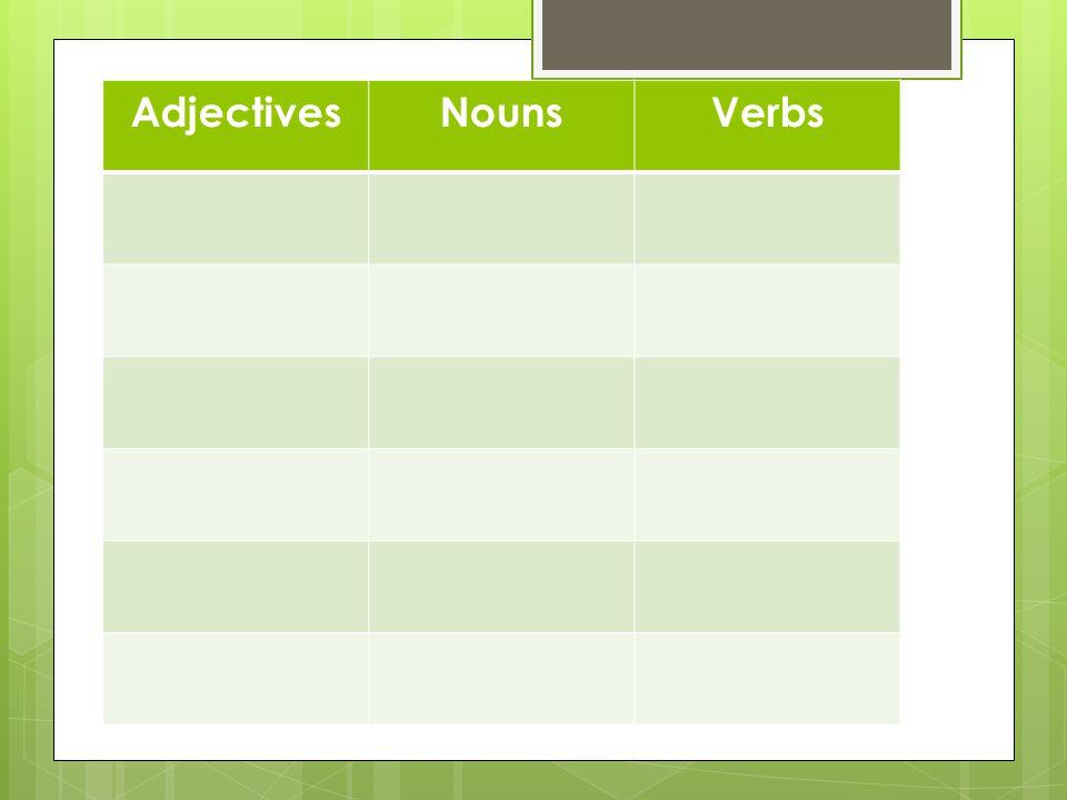 AdjectivesNounsVerbs