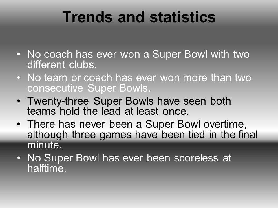 Trends and statistics No coach has ever won a Super Bowl with two different clubs. No team or coach has ever won more than two consecutive Super Bowls
