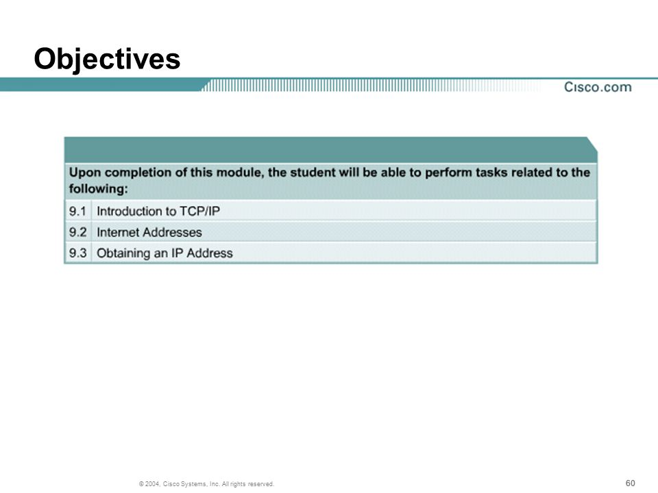 60 © 2004, Cisco Systems, Inc. All rights reserved. Objectives