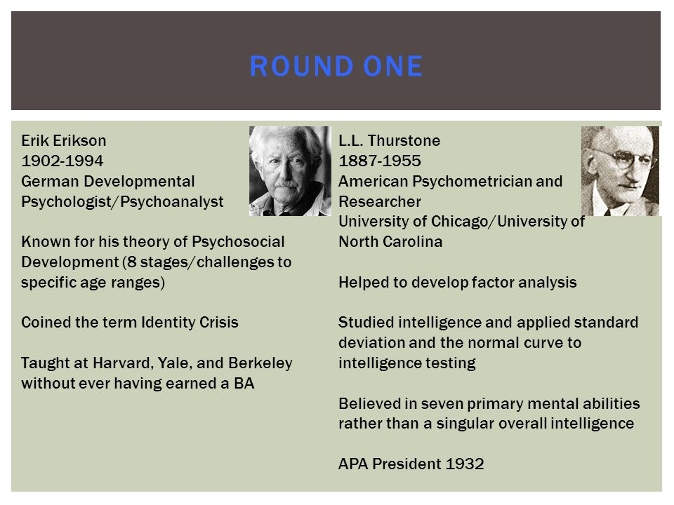 ROUND ONE Erik Erikson 1902-1994 German Developmental Psychologist/Psychoanalyst Known for his theory of Psychosocial Development (8 stages/challenges to specific age ranges) Coined the term Identity Crisis Taught at Harvard, Yale, and Berkeley without ever having earned a BA L.L.