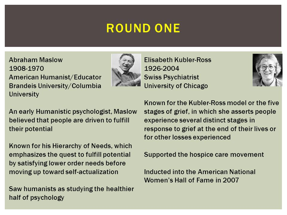 ROUND ONE Abraham Maslow 1908-1970 American Humanist/Educator Brandeis University/Columbia University An early Humanistic psychologist, Maslow believed that people are driven to fulfill their potential Known for his Hierarchy of Needs, which emphasizes the quest to fulfill potential by satisfying lower order needs before moving up toward self-actualization Saw humanists as studying the healthier half of psychology Elisabeth Kubler-Ross 1926-2004 Swiss Psychiatrist University of Chicago Known for the Kubler-Ross model or the five stages of grief, in which she asserts people experience several distinct stages in response to grief at the end of their lives or for other losses experienced Supported the hospice care movement Inducted into the American National Women's Hall of Fame in 2007