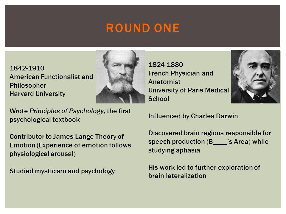 ROUND ONE 1842-1910 American Functionalist and Philosopher Harvard University Wrote Principles of Psychology, the first psychological textbook Contributor to James-Lange Theory of Emotion (Experience of emotion follows physiological arousal) Studied mysticism and psychology 1824-1880 French Physician and Anatomist University of Paris Medical School Influenced by Charles Darwin Discovered brain regions responsible for speech production (B____'s Area) while studying aphasia His work led to further exploration of brain lateralization