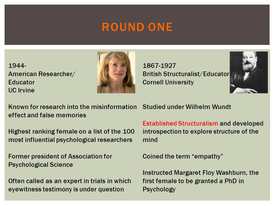 ROUND ONE 1944- American Researcher/ Educator UC Irvine Known for research into the misinformation effect and false memories Highest ranking female on a list of the 100 most influential psychological researchers Former president of Association for Psychological Science Often called as an expert in trials in which eyewitness testimony is under question 1867-1927 British Structuralist/Educator Cornell University Studied under Wilhelm Wundt Established Structuralism and developed introspection to explore structure of the mind Coined the term empathy Instructed Margaret Floy Washburn, the first female to be granted a PhD in Psychology