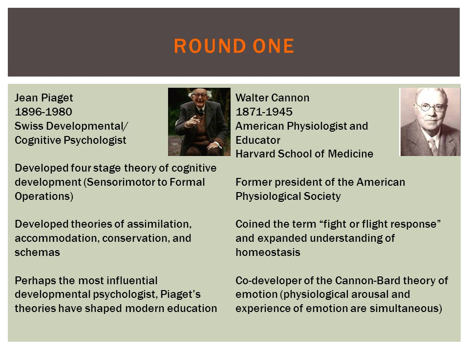 ROUND ONE Jean Piaget 1896-1980 Swiss Developmental/ Cognitive Psychologist Developed four stage theory of cognitive development (Sensorimotor to Formal Operations) Developed theories of assimilation, accommodation, conservation, and schemas Perhaps the most influential developmental psychologist, Piaget's theories have shaped modern education Walter Cannon 1871-1945 American Physiologist and Educator Harvard School of Medicine Former president of the American Physiological Society Coined the term fight or flight response and expanded understanding of homeostasis Co-developer of the Cannon-Bard theory of emotion (physiological arousal and experience of emotion are simultaneous)
