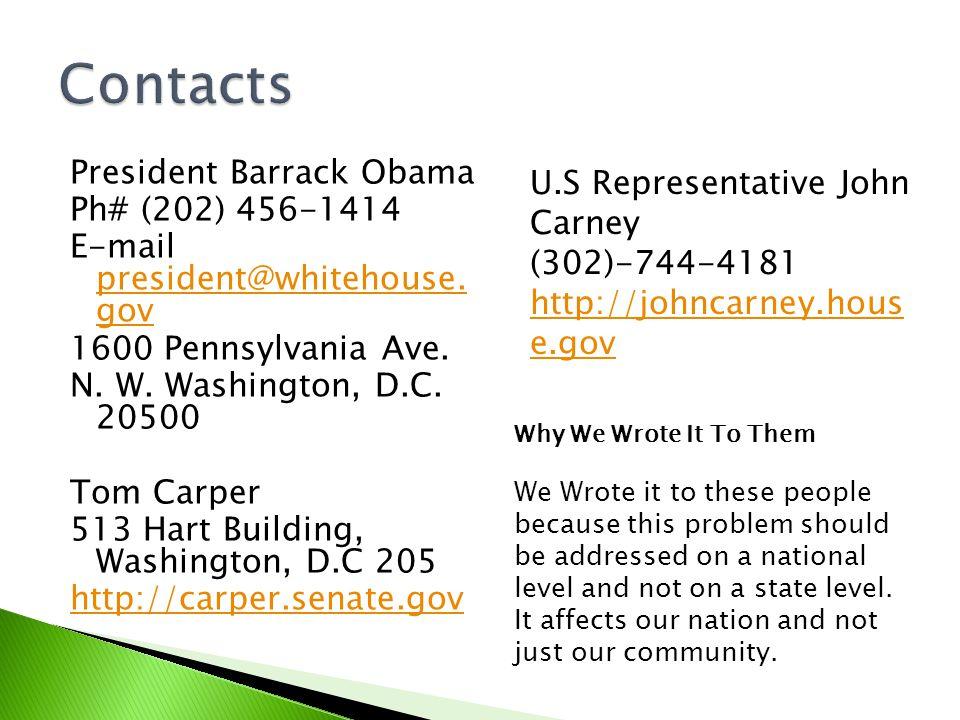 President Barrack Obama Ph# (202) 456-1414 E-mail president@whitehouse.