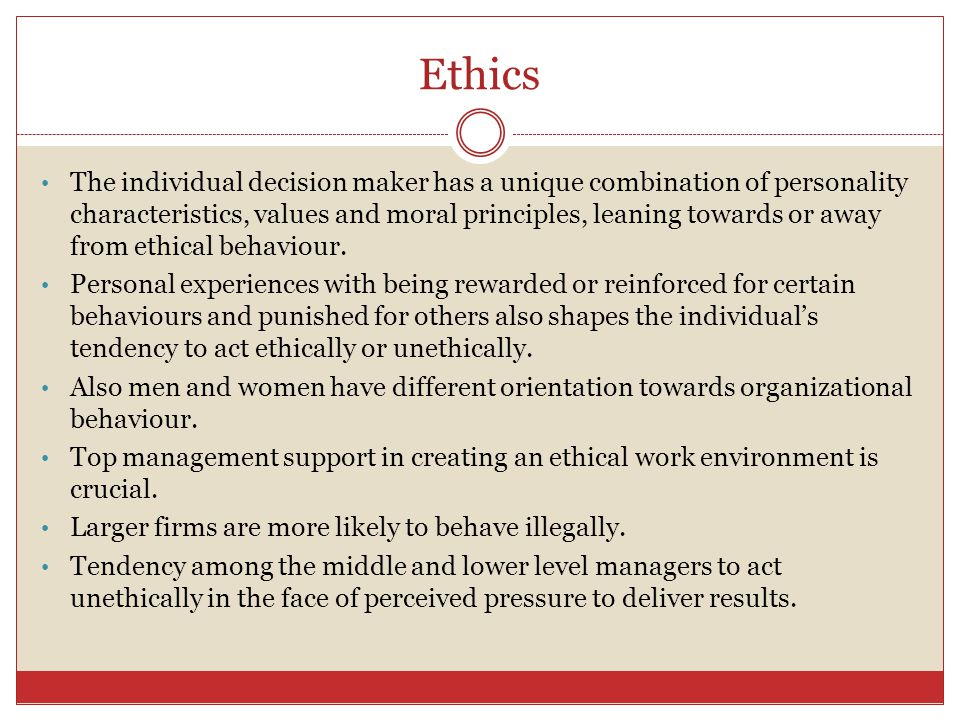 Ethics The problem when discussing ethics is that there is no universal standard of ethical behaviour. Ethics involves the study of moral issues and c