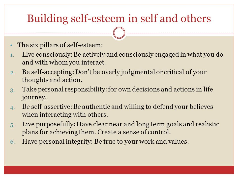Self-esteem It is a belief about one's own self-worth based on an overall self- evaluation. Individualistic cultures socialize people to focus more on