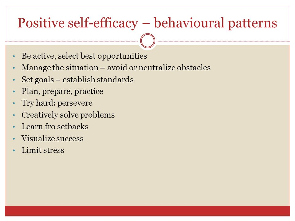 Self-efficacy I can do that. People confident of their ability tend to succeed. A person's belief about his or her chances of successfully accomplishi