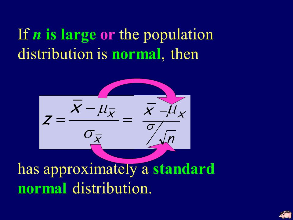 If n is large or the population distribution is normal, then has approximately a standard normal distribution.