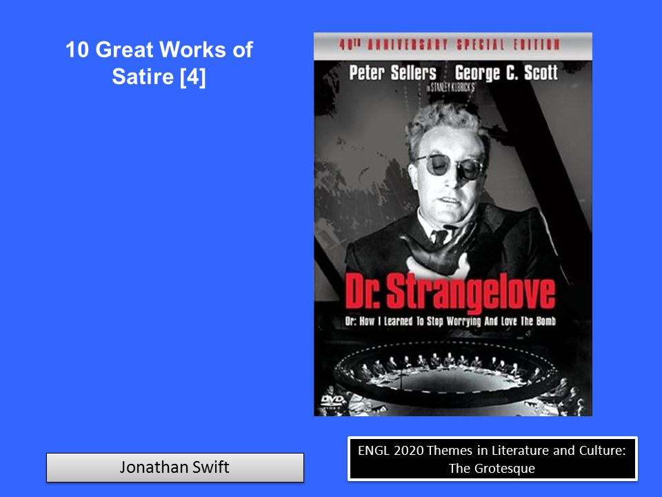 ENGL 2020 Themes in Literature and Culture: The Grotesque Jonathan Swift 10 Great Works of Satire [5] Spitting Image