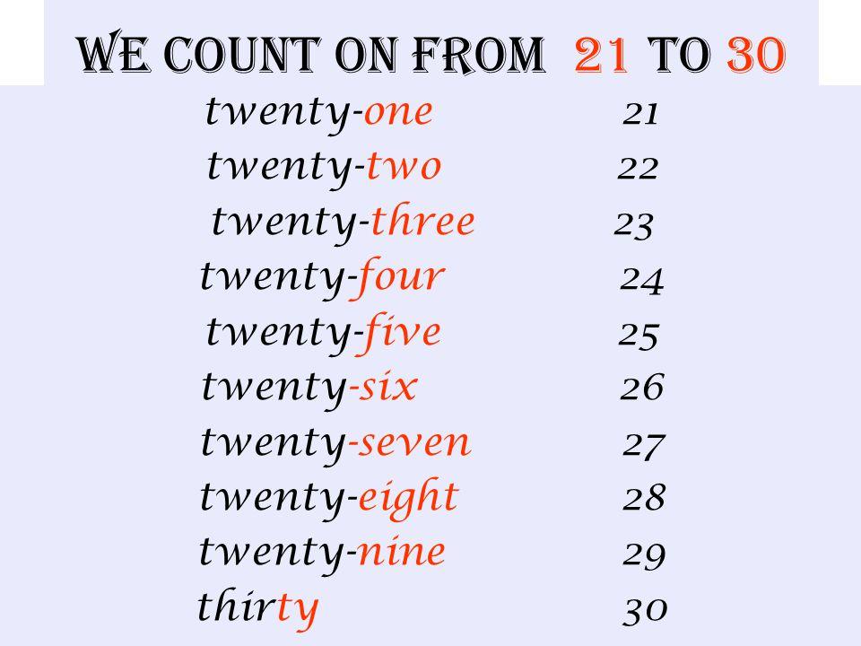 We count from 11 to 20 eleven 11 twelve 12 thirteen 13 fourteen 14 fifteen 15 sixteen 16 seventeen 17 eighteen 18 nineteen 19 twenty 20