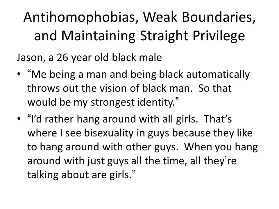 """Antihomophobias, Weak Boundaries, and Maintaining Straight Privilege Jason, a 26 year old black male """"Me being a man and being black automatically thr"""