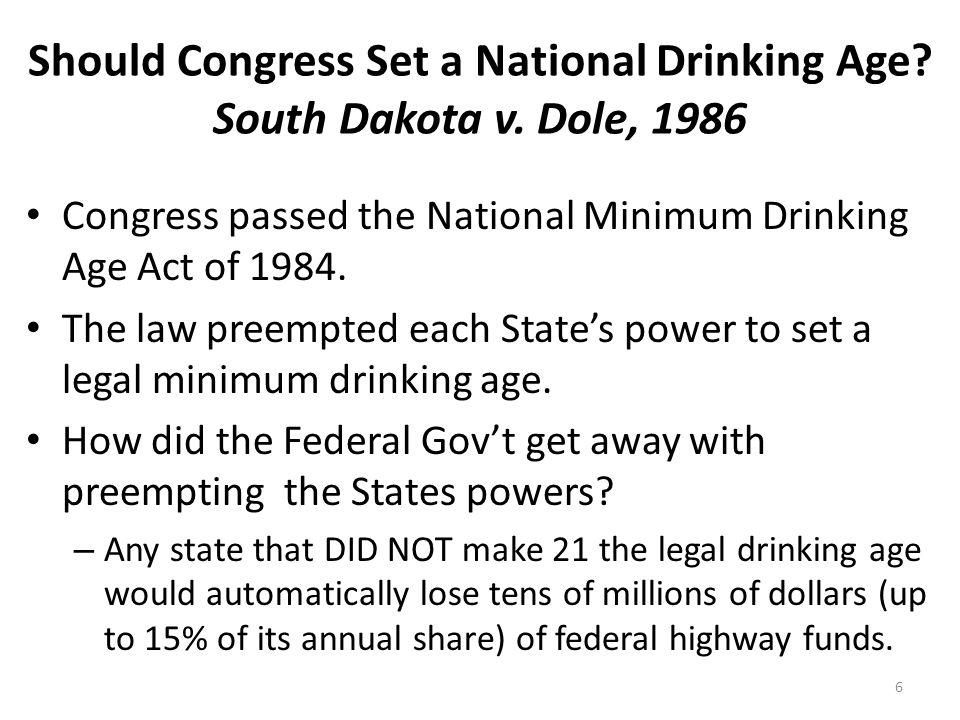 Should Congress Set a National Drinking Age. South Dakota v.