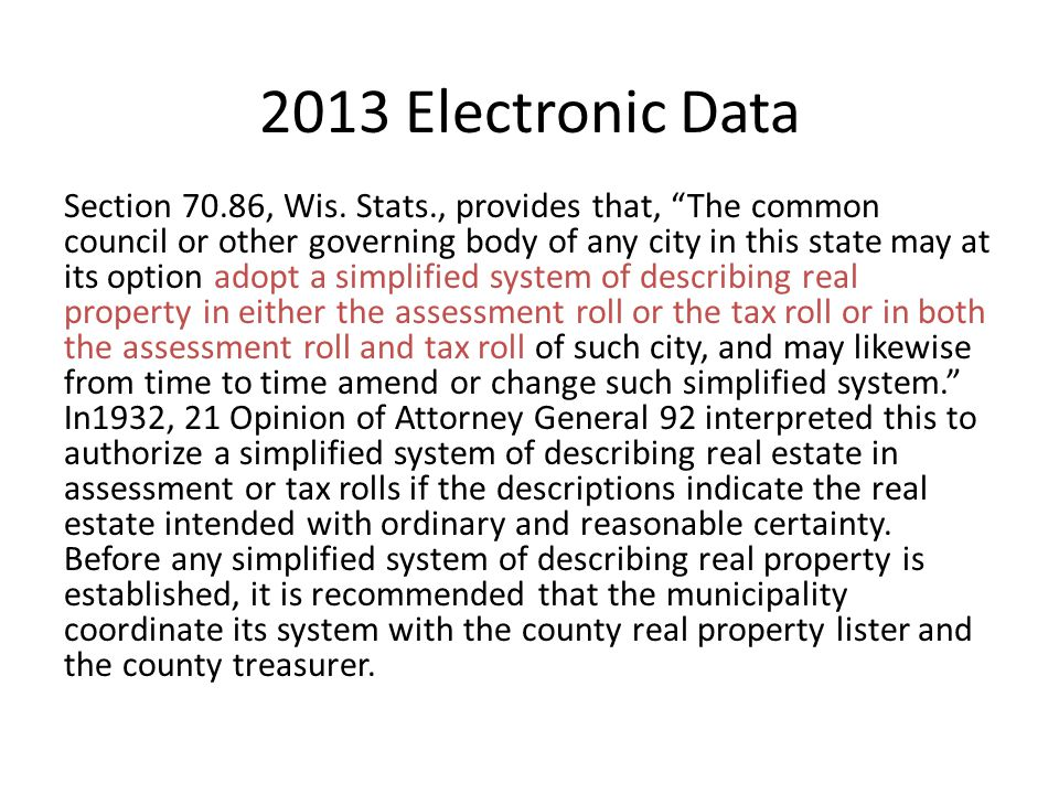 2013 Electronic Data Section 70.86, Wis.