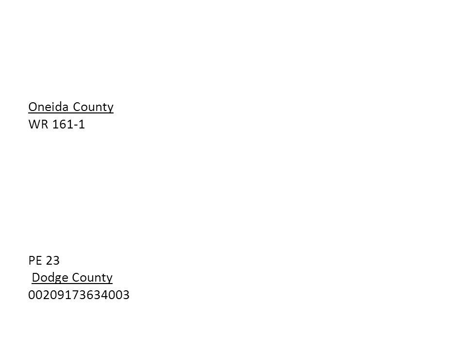 Oneida County WR 161-1 PE 23 Dodge County 00209173634003