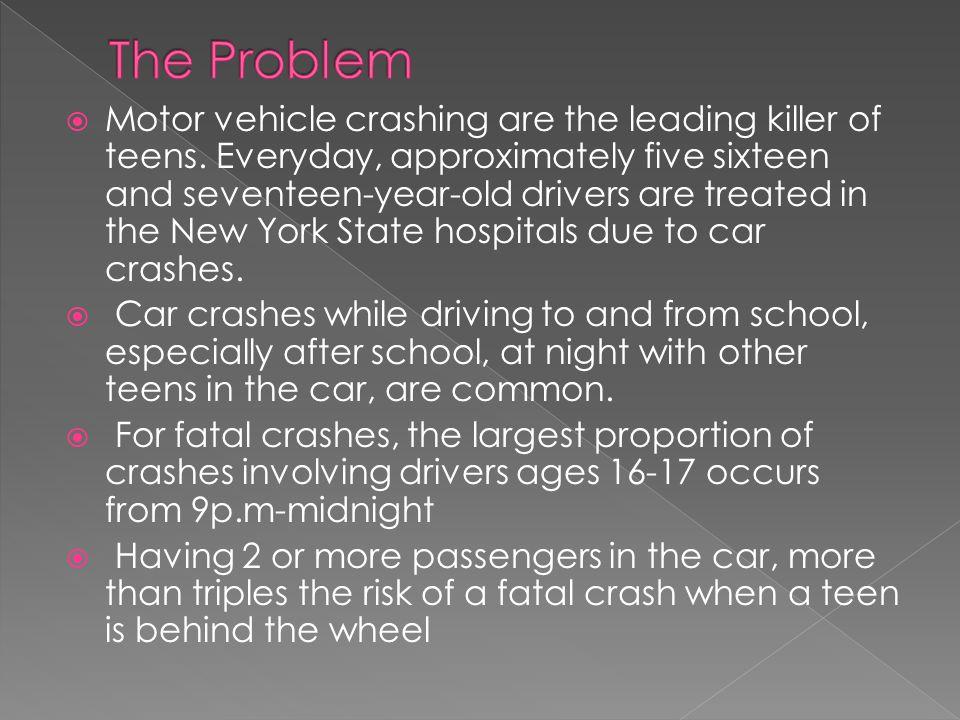  Motor vehicle crashing are the leading killer of teens.