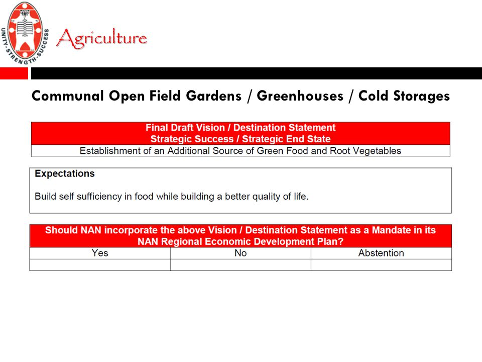 Agriculture Communal Open Field Gardens / Greenhouses / Cold Storages