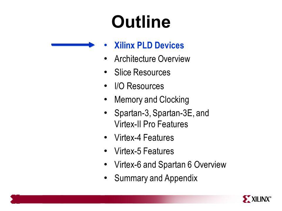 Xilinx PLD Devices FPGA Devices – Virtex-II Pro, Virtex-4, Virtex-5, Virtex-6 , – Spartan-3, Spartan-3E, Extended Spartan-3A, Spartan 6 – New 7 series: Virtex-7 , Kintex 7 , Artix 7 针对不同应用市场定位 统一的平台架构,共用架构最低层构建块 ,便于设计移植 最先进的半导体工艺 28nm 工艺,功耗比 V6 降低一半 Zynq-7000 EPP Devices New CPLD Devices – CoolRunner-II