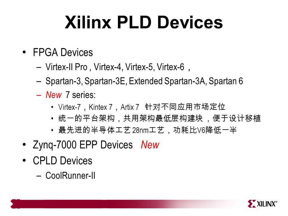 Xilinx PLD Devices FPGA Devices – Virtex-II Pro, Virtex-4, Virtex-5, Virtex-6 , – Spartan-3, Spartan-3E, Extended Spartan-3A, Spartan 6 – New 7 series