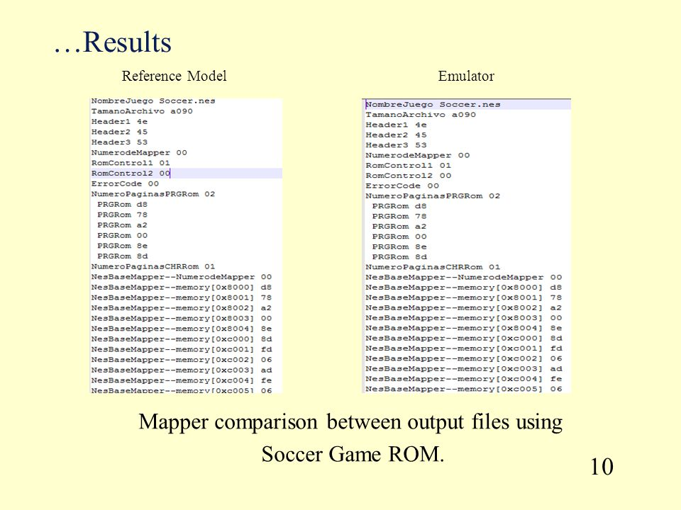 …Results Mapper comparison between output files using Soccer Game ROM. 10 Reference ModelEmulator