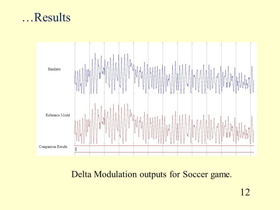 …Results Delta Modulation outputs for Soccer game. 12 Emulator Reference Model Comparison Results