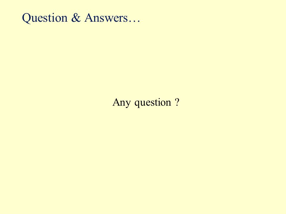 Question & Answers… Any question