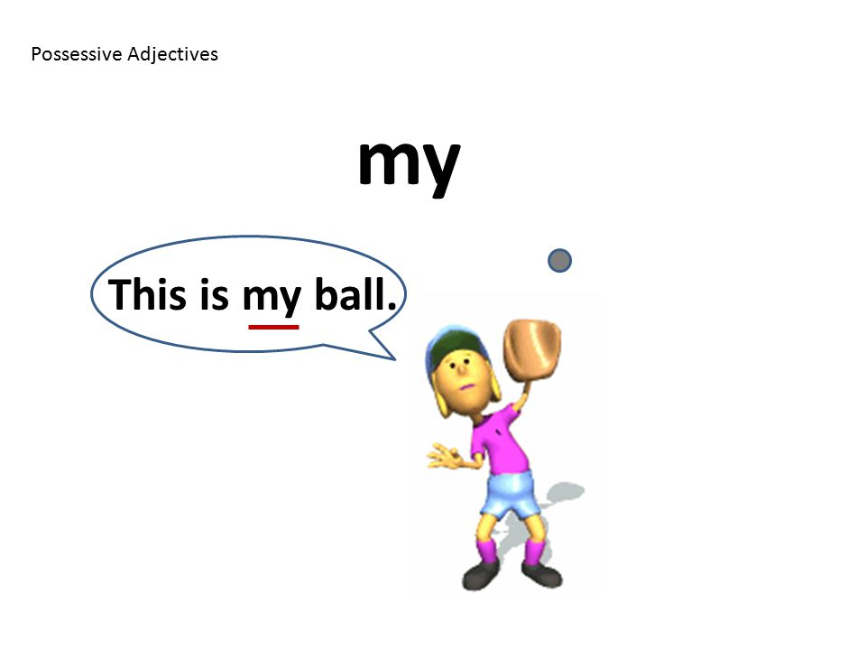 Possessive Adjectives my This is my ball.