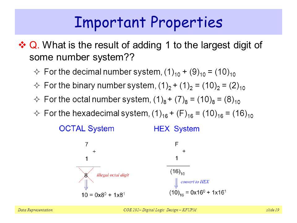 Data Representation COE 202– Digital Logic Design – KFUPM slide 19 Important Properties  Q.