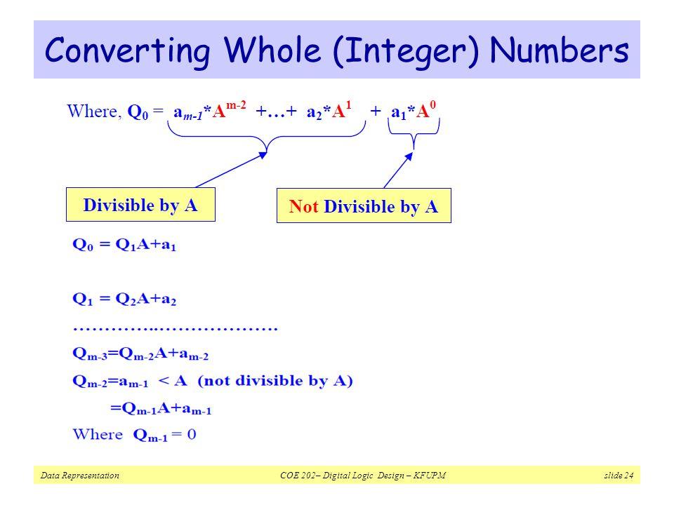 Data Representation COE 202– Digital Logic Design – KFUPM slide 24 Converting Whole (Integer) Numbers