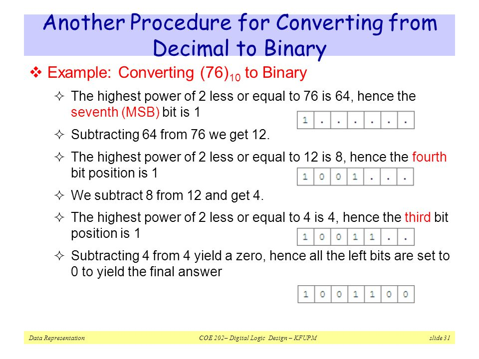 Data Representation COE 202– Digital Logic Design – KFUPM slide 31 Another Procedure for Converting from Decimal to Binary  Example: Converting (76) 10 to Binary  The highest power of 2 less or equal to 76 is 64, hence the seventh (MSB) bit is 1  Subtracting 64 from 76 we get 12.