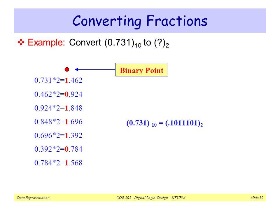 Data Representation COE 202– Digital Logic Design – KFUPM slide 39 Converting Fractions  Example: Convert (0.731) 10 to (?) 2