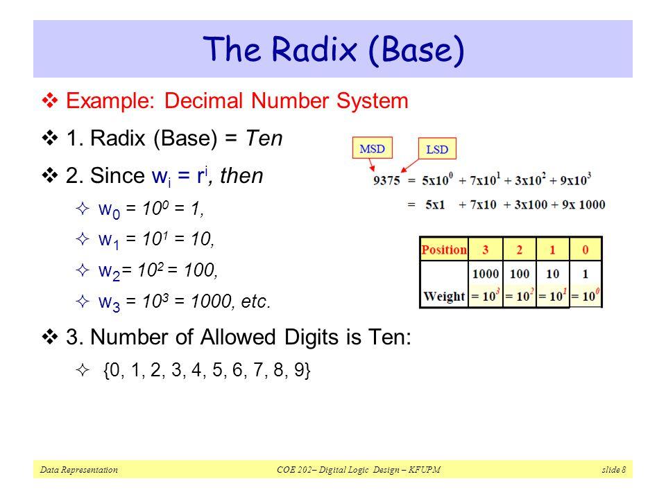 Data Representation COE 202– Digital Logic Design – KFUPM slide 8 The Radix (Base)  Example: Decimal Number System  1.