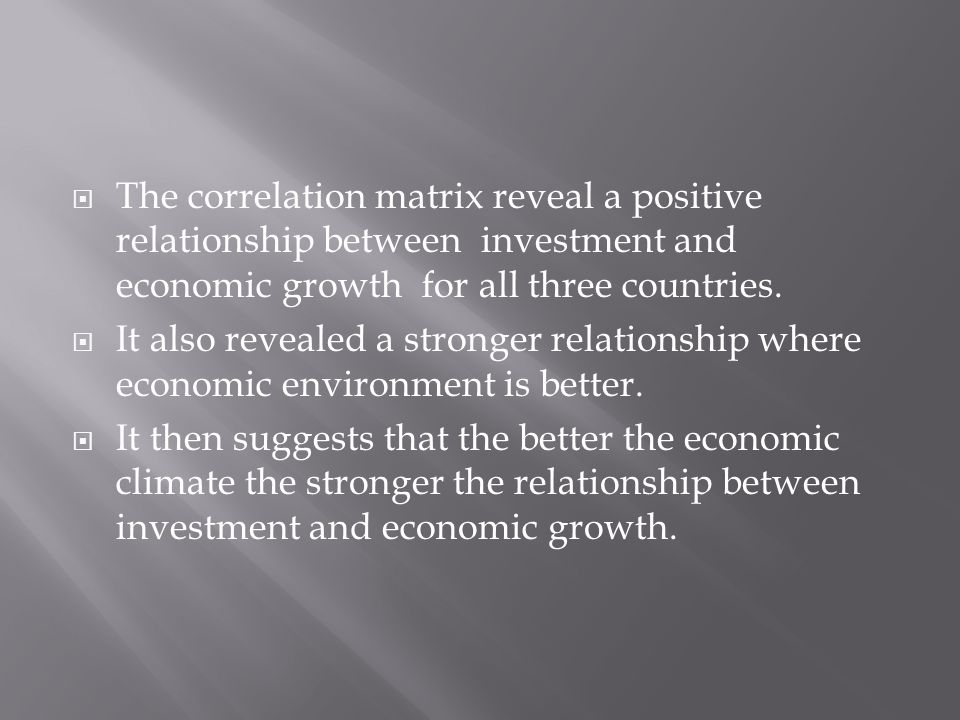  The correlation matrix reveal a positive relationship between investment and economic growth for all three countries.