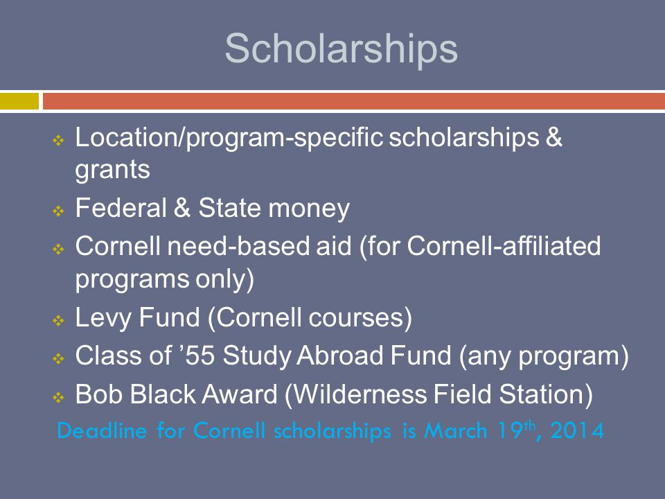 Scholarships  Location/program-specific scholarships & grants  Federal & State money  Cornell need-based aid (for Cornell-affiliated programs only)  Levy Fund (Cornell courses)  Class of '55 Study Abroad Fund (any program)  Bob Black Award (Wilderness Field Station) Deadline for Cornell scholarships is March 19 th, 2014