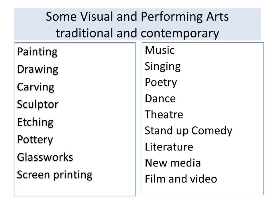 Some Visual and Performing Arts traditional and contemporary Painting Drawing Carving Sculptor Etching Pottery Glassworks Screen printing Painting Drawing Carving Sculptor Etching Pottery Glassworks Screen printing Music Singing Poetry Dance Theatre Stand up Comedy Literature New media Film and video