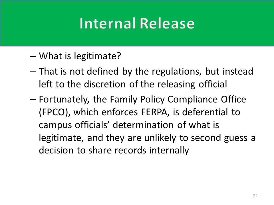 – What is legitimate.