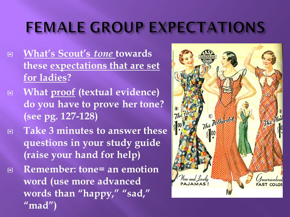  What's Scout's tone towards these expectations that are set for ladies?  What proof (textual evidence) do you have to prove her tone? (see pg. 127-
