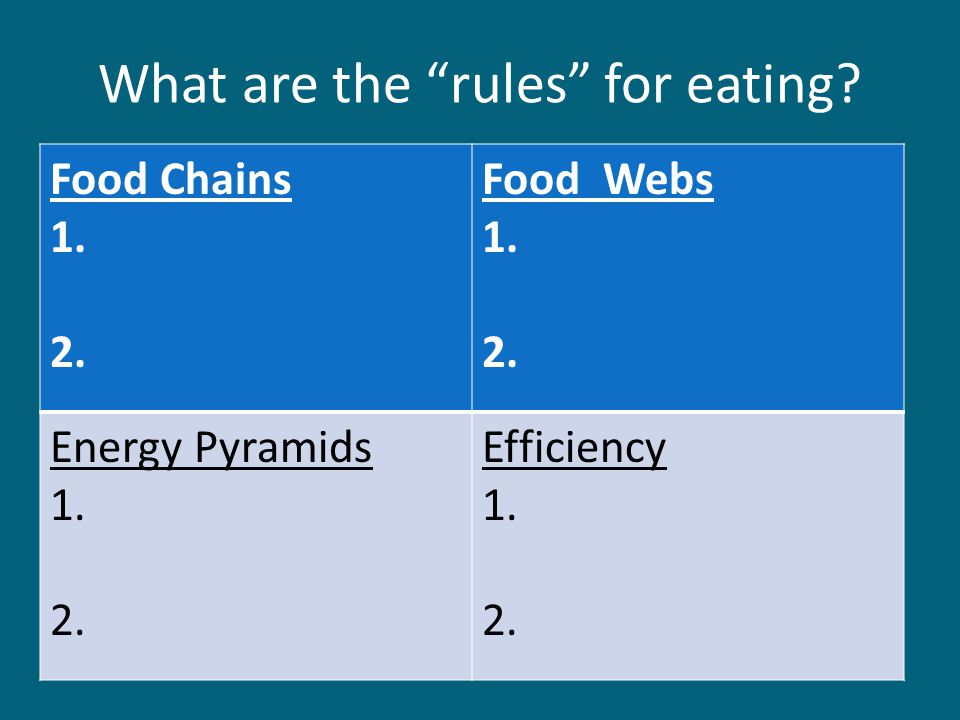 What are the rules for eating. Food Chains 1. 2.