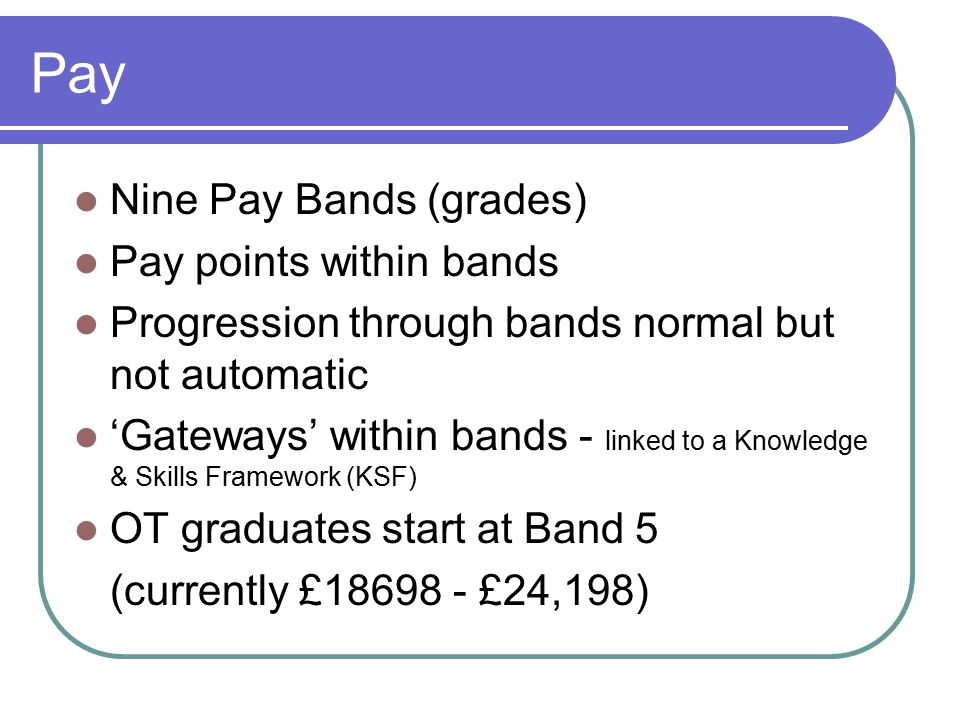 Pay Nine Pay Bands (grades) Pay points within bands Progression through bands normal but not automatic 'Gateways' within bands - linked to a Knowledge & Skills Framework (KSF) OT graduates start at Band 5 (currently £18698 - £24,198)