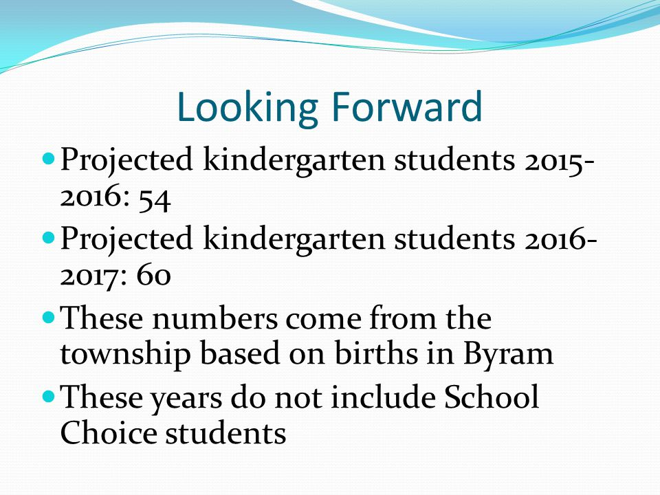 Looking Forward Projected kindergarten students 2015- 2016: 54 Projected kindergarten students 2016- 2017: 60 These numbers come from the township bas