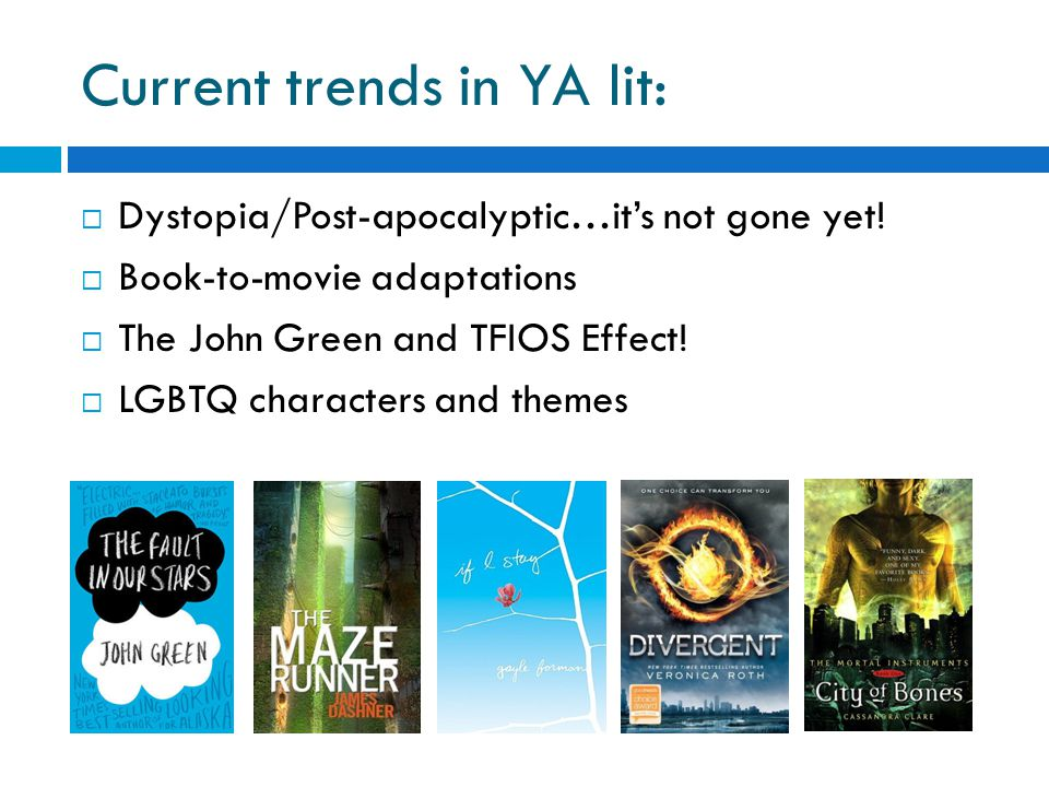 Current trends in YA lit:  Dystopia/Post-apocalyptic…it's not gone yet.