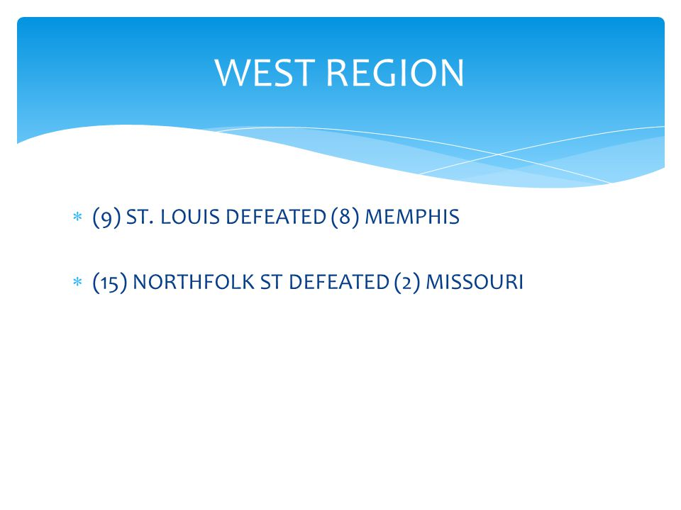  (9) ST. LOUIS DEFEATED (8) MEMPHIS  (15) NORTHFOLK ST DEFEATED (2) MISSOURI WEST REGION