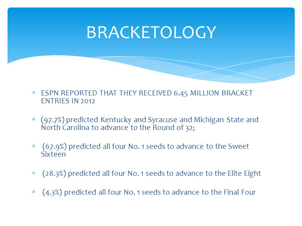  ESPN REPORTED THAT THEY RECEIVED 6.45 MILLION BRACKET ENTRIES IN 2012  (97.7%) predicted Kentucky and Syracuse and Michigan State and North Carolina to advance to the Round of 32;  (67.9%) predicted all four No.